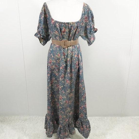 Vintage 70s Cottagecore Dress Floral Prairie Long… - image 6