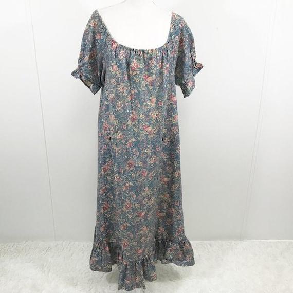 Vintage 70s Cottagecore Dress Floral Prairie Long… - image 5