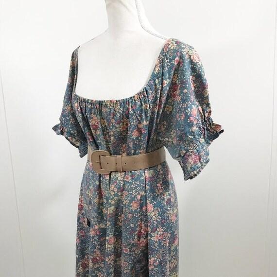 Vintage 70s Cottagecore Dress Floral Prairie Long… - image 3