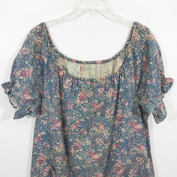 Vintage 70s Cottagecore Dress Floral Prairie Long… - image 8