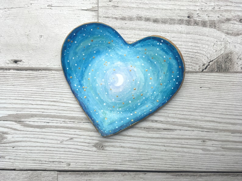 Clay trinket dish Galaxy ring organiser. Blue celestial ring holder Mothers day gift idea for her Moon lit sky heart trinket dish