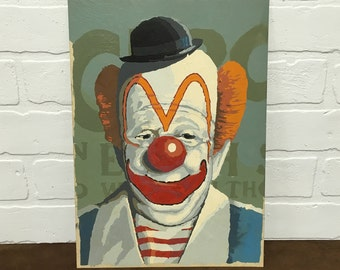 1960s Clown Paint by Number - Without Frame