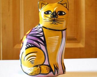 Cat Statue Tonala Pottery Vintage Mexican Folk Art