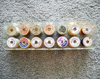 Vintage Thread on Wooden Spools In Plastic Case