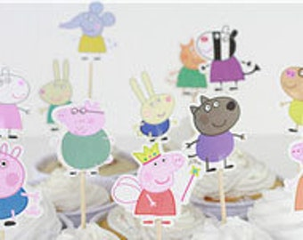 Peppa pig cup cake toppers, Peppa pig birthday supplies - 24 pcs
