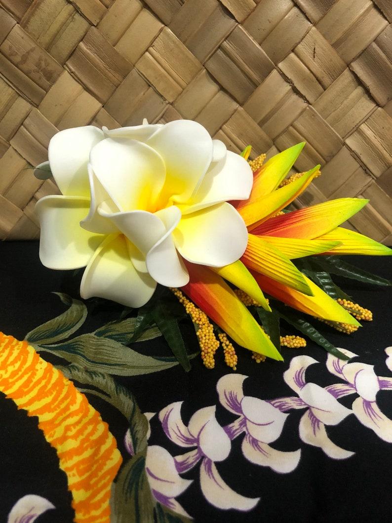 Hawaiian Siena Hair Clip  Hawaiian floralsTropical Hair Clip sample photo will be sent before shipping for your review hula hair piece