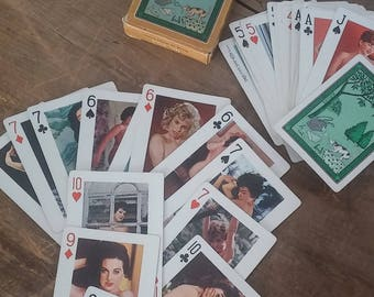 Gaiety playing cards, pin up playing cards, naughty cards, nude models, playing cards, circa 1960, pin up collectibles, pin up cards