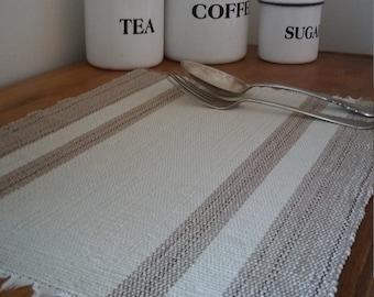 PURE, Vintage placemats, handmade placemats, weaved placemats, farmhouse decor, shabby chic, minimalist decor