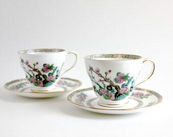 Vintage Duchess Bone China Indian Tree Teacup Set, Cake Serving Plate, Duchess China, Teacups, Teacup Set