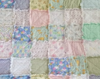 Handmade Raggedy Flannel Baby Blanket
