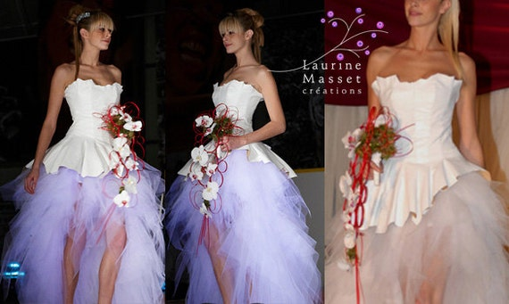 Star of snow white leather wedding dress | Etsy