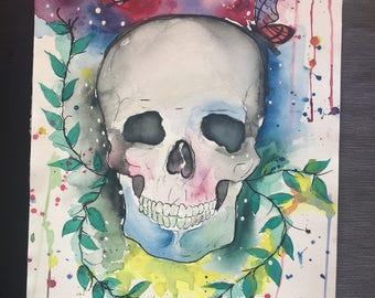 watercolor painting, deathskull