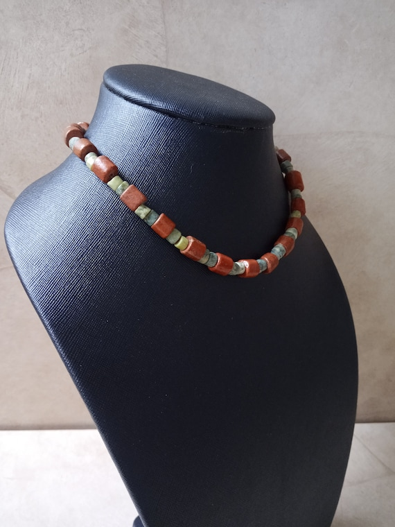 Colored Beads Boho Summer Necklace Torsade. Ethnic 3 Strands Gift for women Enamel Necklace Vintage Jewelry 1980s Mid century