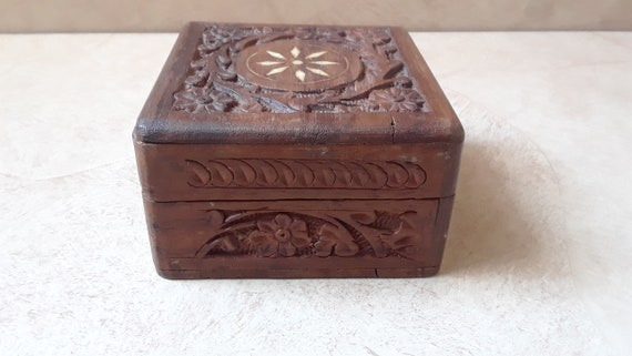 Made In India Lot Of 5 Hand Painted Wooden Trinket Boxes