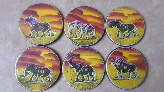 Hand Carved Stone African Safari Animal Coasters With Holder Etsy