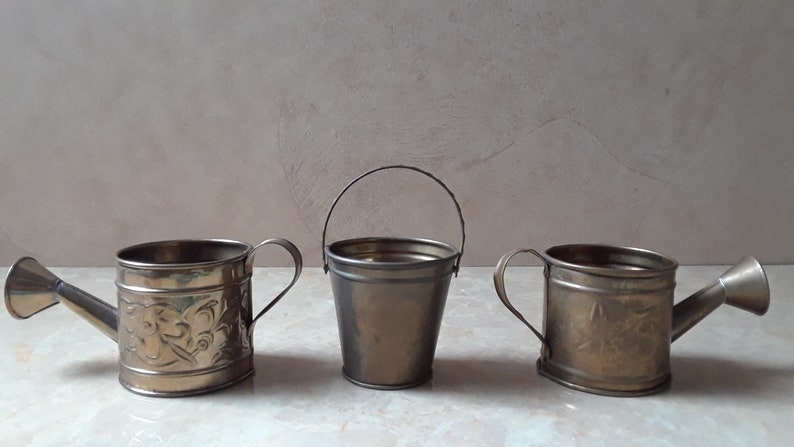 Brass Garden Accessories Brass Mini Collectibles Metal Water Cans /& Mini Water Bucket Hosley Int/'l Mini Brass Water Cans and Water Pail