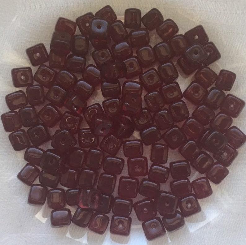 Garnet Red Cube Czech Glass Beads ships free 250 pcs 57 mm