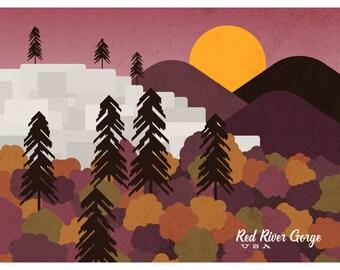 Red River Gorge, Kentucky - Illustrated Digital Art Print