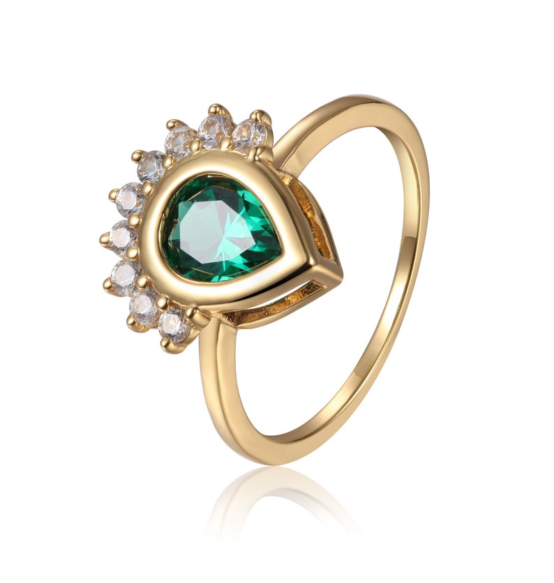Created Emerald Tear Drop Ring with White Sapphire Sides Mother/'s Day Gift for Her Yellow Gold Plated 925 Sterling Silver Ring