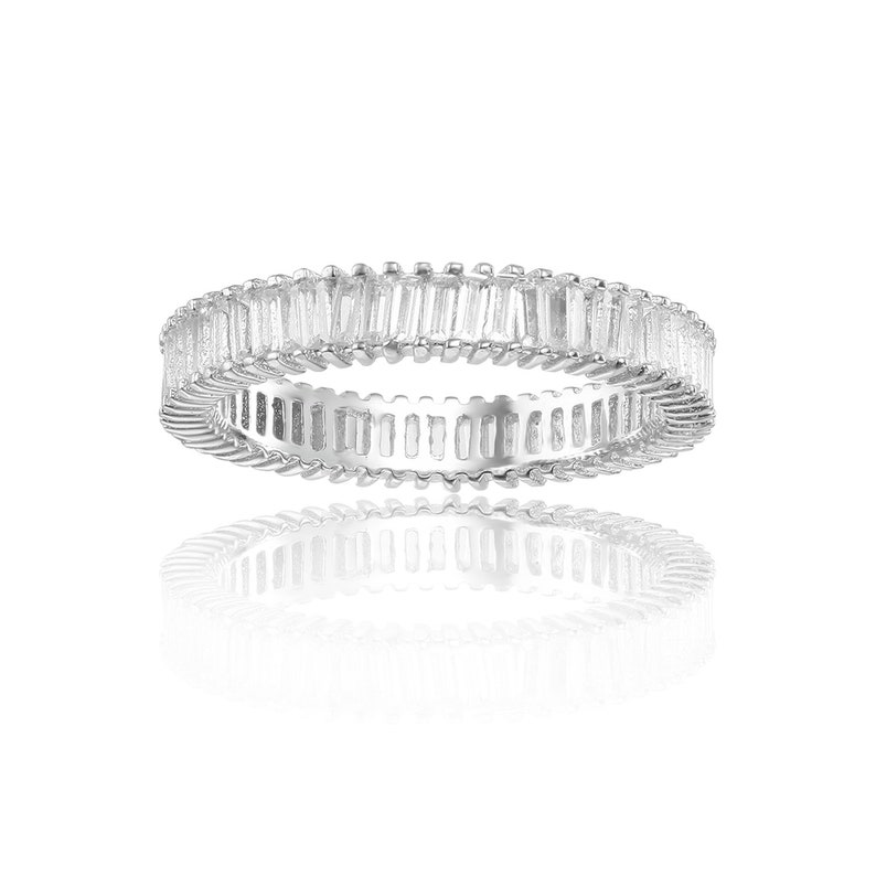 Mother/'s Day Gift for Her 925 Sterling Silver Stackable Ring White Topaz Accent Ring Natural White Topaz Baguette Eternity Ring