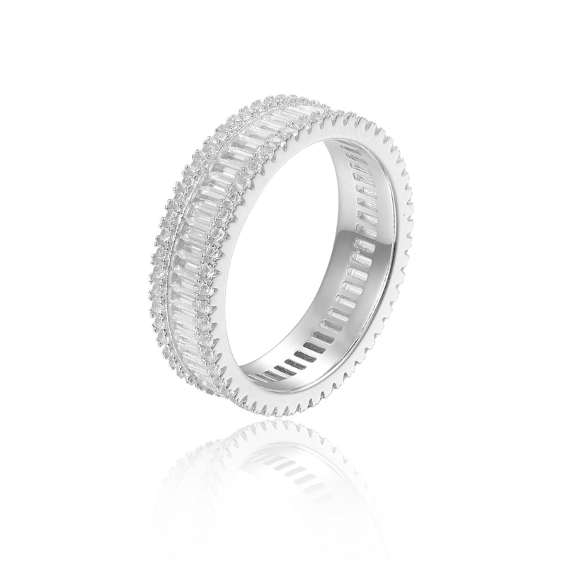 925 Sterling Silver Stackable Ring Natural Gemstone Accent Ring Mother/'s Day Gift for Her Natural White Topaz Baguette Eternity Ring