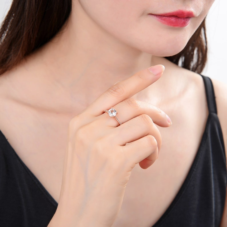 Mother/'s Day Gift Gift for Her Rose Gold Plated 925 Sterling Silver Wedding Ring Natural White Topaz Engagement Round Ring
