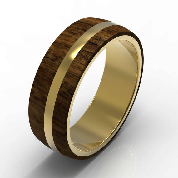 Exotic Hardwood And 14 Kt Gold Wedding Band Shiny Polished Etsy