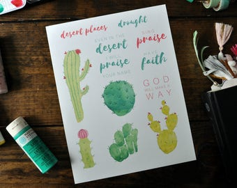 CLEARANCE Desert Cacti, Faith Heirlooms Bible Journaling Printable, Digital Download