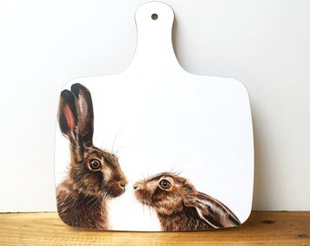 Kissing Hares Chopping Board | Hares Chopping Board | Hare Cutting Board | Wildlife Chopping Board | Animal Chopping Board