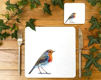 Robin Placemat | Garden Bird Placemat | Robin Tablemat | Robin Homeware | Robin Tableware | Robin Coaster
