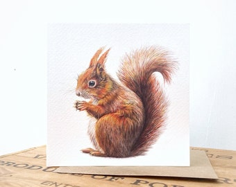 Red Squirrel Greetings Card - Squirrel Card - Squirrel Art Card - Red Squirrel Card - Red Squirrel Painting - Red Squirrel Art
