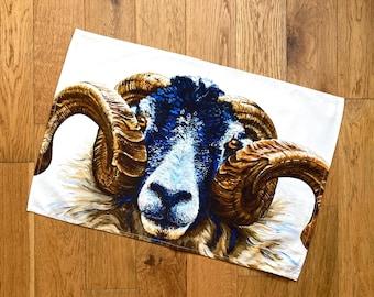 Swaledale Ram Tea Towel | Sheep Tea Towel | kitchen textiles | homeware | cotton tea towel | country kitchen
