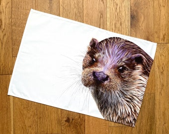 Otter Tea Towel | wildlife tea towel | kitchen textiles | homeware | cotton tea towel | country kitchen