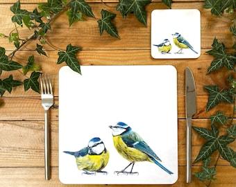 Blue Tits Placemat | Garden Bird Placemat | Garden Bird Tablemat | Garden Bird Homeware | Garden Bird Tableware | Blue Tits Coaster