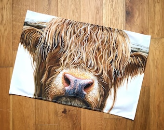 Highland Cow Tea Towel   kitchen textiles   homeware   cotton tea towel   highland cow gifts   country kitchen