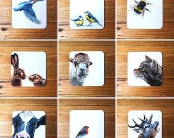 Set of 4 or 6 Animal and Bird Coasters | Animal Coasters | Bird Coasters | Wildlife Coasters | Coaster Multipack | 4 Coasters | 6 Coasters