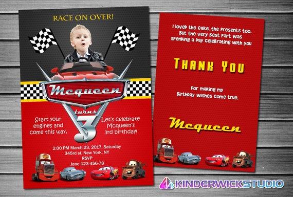Disney Cars Invitation Birthday