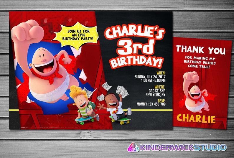 Thank you card Super Hero Captain Underpants Digital Party invitation birthday