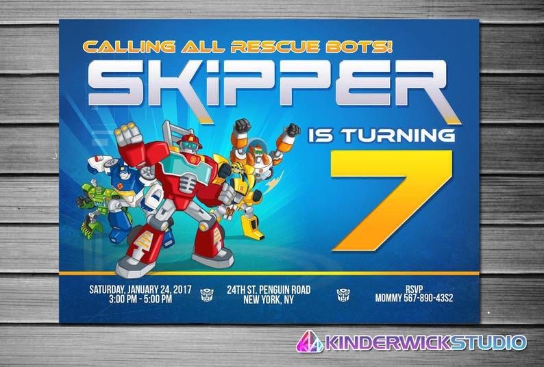 Rescue Bots Invitation Printable Transformer