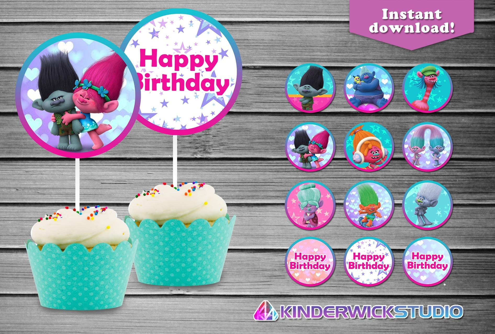 Trolls Cupcake Toppers Birthday