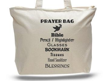 PRAYER TOTE BAG, Prayer Bag, Religious Gift, Gift of God, Religious Tote, Church Gift, Religious Bag, Bible Bag, Bible Study Bag, Church Bag