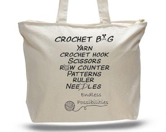 CROCHET BAG, Crocheting Bag, Yarn Tote, Gift for a Crocheter, Quilting Project Bag, Quilting Tote, Yarn Bag, Knitting Bag, Knitting Tote