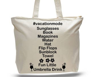 VACATION BAG, Vacation Tote, Honeymoon Tote, Gift for Bride, Gift for Couple, Vacation Mode, Summer Bag, Beach Tote Bag, Vacay Mode, Couples