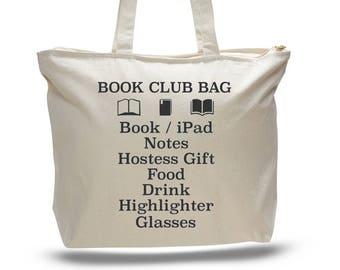 BOOK CLUB BAG, Book Club Tote, Book Bag, Gift for Reader, Book Club Gift, Book Tote Bag, Gift for Her, Gift for Book Club, Book Club Present