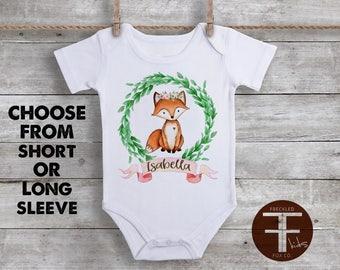 Custom Name ONESIE®, Fox Onesie, Custom Name Onesie for Girls, Baby Girl Onesie, Woodland Fox Onesie, Custom Fox Onesie, Cute Baby Clothes