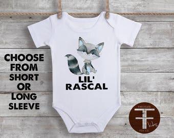 Lil Rascal ONESIE®, Baby Boy Onesie, Baby Boy Clothes, Newborn Boy Onesie, Boy Clothes, Woodland Animal Onesie, Raccoon Onesie, Boy Shirt