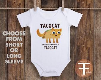 Tacocat ONESIE®, Taco Onesie, Tacocat is Tacocat Spelled Backwards, Funny Baby Onesie, Foodie Onesie, Cute Baby Onesies, Cute Baby Clothes