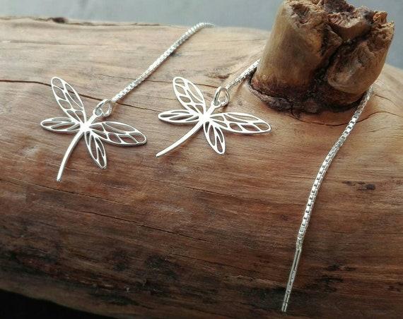 Silver dragonfly earrings 925, bohemian earrings - Boho Jewelry - Women's Jewelry - Gift for her