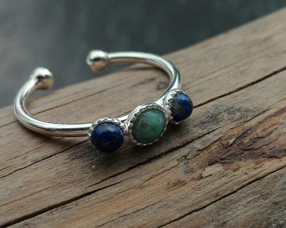 Bague bohème Turquoise et Lapis lazuli argent 925 - bague réglable - Bijoux Bohème
