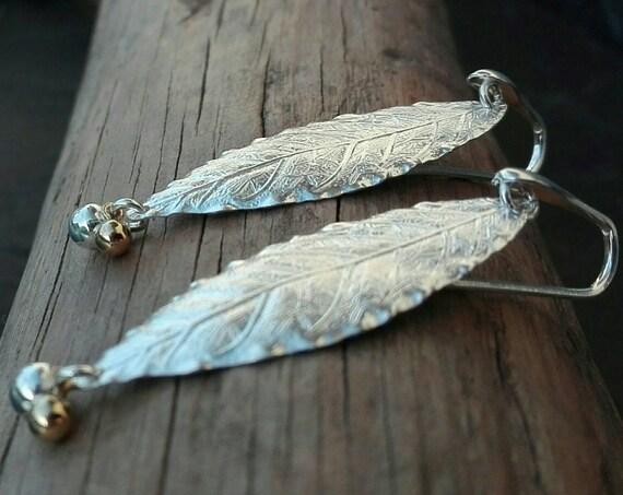 Boucles d'oreilles longues feuille argent 925 - Pendantes feuille emboutie - Bijoux Bohème